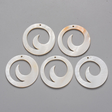 Natural Freshwater Shell Pendants, Ring with Waved, 30x2mm, Hole: 1.6mm(X-SHEL-R021-07)