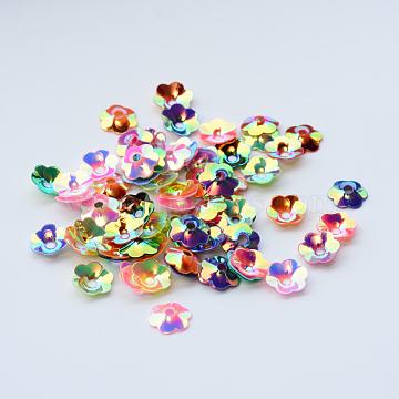 Ornament Accessories Disc Plastic Paillette Beads, Sequins Beads, Flower, Mixed Color, 6x2mm, Hole: 1.5mm, about 3000pcs/50g(X-PVC-R013-6mm-M)