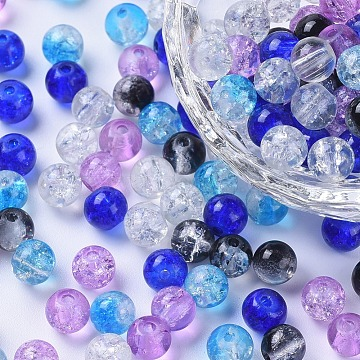 Baking Painted Crackle Glass Beads, Silver-Grey Mix, Round, Mixed Color, 6~6.5x5.5~6mm, Hole: 1mm, about 200pcs/bag(DGLA-X0006-6mm-03)