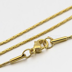 "Colliers avec chaîne boston en 304 acier inoxydable, avec fermoir pince de homard, or, 18.1"" (46 cm), 1mm(STAS-O053-16G)"