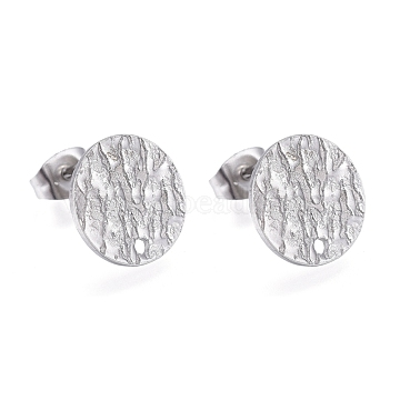 304 Stainless Steel Stud Earring Findings, with Ear Nuts/Earring Backs & Loop, Textured, Flat Round, Stainless Steel Color, 12x1mm, Hole: 1.4mm, Pin: 0.7mm(X-STAS-M228-U01-01P)