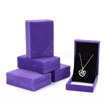 Rectangle Velvet Necklace Boxes, Jewelry Boxes, Mauve, 10.1x7.1x3.6cm(VBOX-D003-02)