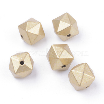 Spray Painted Acrylic Beads, Matte Style, Faceted, Cube, Gold, 10x10x9mm, Hole: 1.5mm(X-ACRP-S667-29)