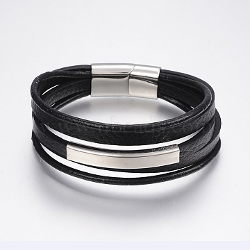 Men's Braided Leather Cord Multi-strand Bracelets, with 304 Stainless Steel Findings, Rectangle, Black, 8-1/4 inches(210mm);  12~25x3~8mm(BJEW-P198-06)
