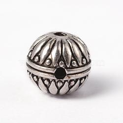 Alliage de style tibétain 3 trou perles gourou, perles t-percées, rond, pour la fabrication de bijoux bouddhiste, argent antique, 15.5x15mm, Trou: 3mm(X-TIBEB-YC65958-AS)