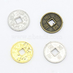 de bijouterie chinoiserie alliage perles en argent de cuivre, plats ronds pièces anciennes chinoises à caractère Kangxi, couleur mélangée, 10x1 mm, trou: 2x2 mm(PALLOY-M018-01)