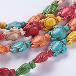 """Chapelets de perles en turquoise synthétique, tortue, teint, couleur mixte, 18.5x15x8mm, trou: 1.5mm; environ 22 pcs/chapelet, 15.24"""" (38.7 cm)(G-E456-35C-15x18mm)"""