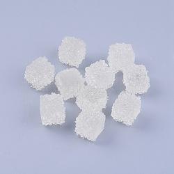 Cabochons en résine (fin de vente défectueuse: jaunissement), cube, blanc, 12.5~13x12.5~13.5x13~13.5mm(CRES-XCP0001-02)