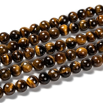 Grade AB Natural Tiger Eye Round Beads Strands, 8~8.5mm, Hole: 1mm, about 47pcs/strand, 15.5 inches(X-G-E334-8mm-17)