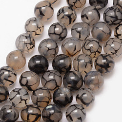 Natural Dragon Veins Agate Bead Strands, Round, Grade A, Dyed & Heated, Coffee, 14mm, Hole: 1mm; about 28pcs/strand, 15inches