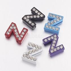 Breloques coulissantes d'alphabet avec strass , Perles de lettre en alliage, lettre z pour bijoux bracelet personnalisé, couleur mixte, environ 10 mm de large, Longueur 12mm, épaisseur de 4.5mm, Trou: 7x1mm(X-ZP14-Z)