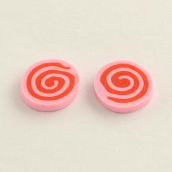 main cabochons en pâte polymère pour clous d'oreilles faisant, plat rond, rose, 9~10x1.5~2 mm(X-CLAY-R057-18G)