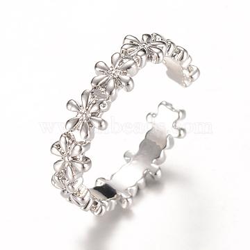 Brass Cuff Finger Rings, Flower, Platinum, 16mm(RJEW-T001-43P)