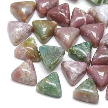 Natural Indian Agate Cabochons, for Photo Pendant Craft Jewelry Making, Triangle, 9.5~10x10x5.5mm (X-G-T025-10x10mm-17)
