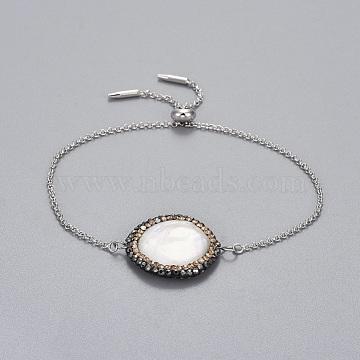 Brass Slider Bracelets, Bolo Bracelets, with Polymer Clay Rhinestones Shell Beads, Flat Round, Platinum, 9-7/8 inches(25cm); 1.3~1.6mm(BJEW-JB04286-04)