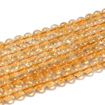 Natural Citrine Beads Strands, Round, Citrine, 8mm, Hole: 1mm, about 50pcs/strand, 15.5 inches(X-G-G212-8mm-29)