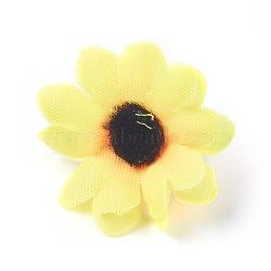 tournesol en tissu de soie, tête de fleur artificielle, pour la décoration de fête de mariage, jaune, 40x16~17 mm; diamètre intérieur: 2 mm(DIY-WH0134-A01)