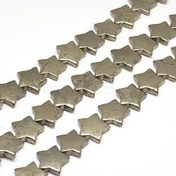 "Pyrite naturelle étoiles perles brins, 20x20x5mm, trou: 1mm; environ 23 pcs/chapelet, 15.7""(G-I125-115A)"