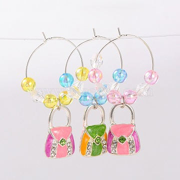 Mixed Color Alloy+Acrylic Wine Glass Charms