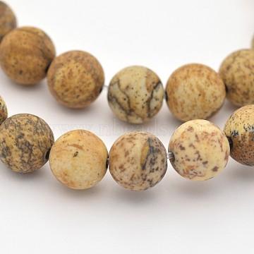 image Naturel jaspe perles brins, givré, arrondir, 8 mm, trou: 1 mm; environ 45 perle / brin, 15(X-G-D659-8mm)