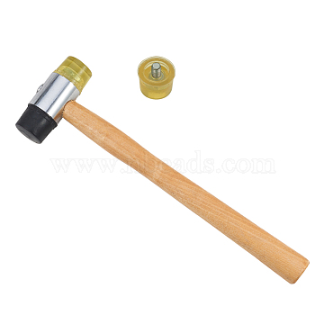 BENECREAT Double Faced Hammer, with Wood Handle and Replaceable Rubber Hammer Head, BurlyWood, 26.6x7.5cm(TOOL-BC0001-04)