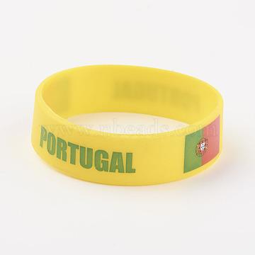 Silicone Wristbands Bracelets, Cord Bracelets, Portugal, Yellow, 202x19x2mm(BJEW-K168-01G)