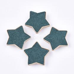 Flocky ccb boutons en plastique, 1-trou, étoiles, sarcelle, 38x40x9mm, Trou: 3x4.5mm(BUTT-T003-09A)