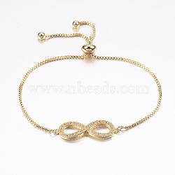 """Bracelets bolo réglables en laiton, Bracelets coulissants, avec zircone et chaînes, infini, or, 10-5/8"""" (270 mm)(BJEW-P200-05G)"""