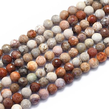 Natural Chrysanthemum Stone Beads Strands, Round, Faceted(128 Facets), Alice Blue, 6mm, Hole: 0.8mm; about 64pcs/strand, 15.35 inches(39cm)(G-K310-A03-6mm)