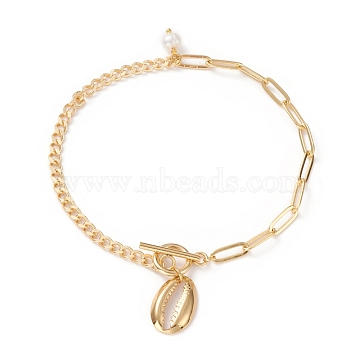 Anklets, with Natural Pearl Beads, Brass Curb Chains & Paperclip Chains, 304 Stainless Steel Toggle Clasps & Pendants, Shell Shape, Golden, 9-5/8 inches(24.5cm)(AJEW-AN00366-02)