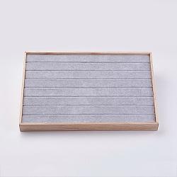 Кубовидные деревянные кольца, обтянута бархатом, светло-серые, 35x24x3.1 см(RDIS-K002-01)