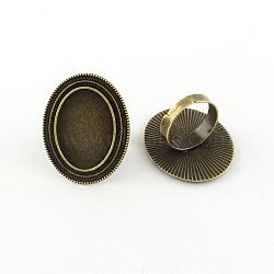 Alliage réglable supports de bague de garniture ovale, avec anneau de fer tiges, sans plomb, bronze antique, plateau: 18x25 mm; 18 mm(X-PALLOY-S043-09AB-LF)