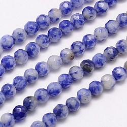 """Природные синее пятно камень бисер нитей, граненые, круглые, синие, 4 мм, Отверстие : 1 мм; около 90 шт / нитка, 15.35""""(G-G545-17)"""