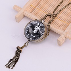 Alloy Flat Round Pendant Necklace Quartz Pocket Watch, with Iron Chains, Antique Bronze, 31.1~31.8inches; watch dial: 85x28x25mm; watch face: 23mm(X-WACH-M126-38)