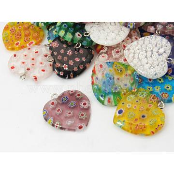 Millefiori Glass Pendants, Iron Clasp, Heart, 25x27x4mm(X-G23CD011)