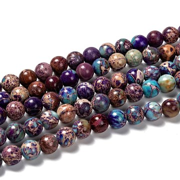 Natural Imperial Jasper Beads Strands, Dyed, Round, Blue Violet, 8mm, Hole: 1mm, about 48pcs/strand, 15.5 inches.(X-G-I122-8mm-15)
