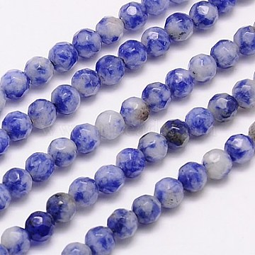 Natural Blue Spot Jasper Beads Strands, Faceted, Round, Blue, 4mm, Hole: 1mm; about 90pcs/strand, 15.35inches(G-G545-17)