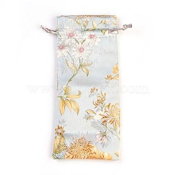 Silk Pouches, Drawstring Bag, Aqua, 19x7.5~8cm(ABAG-WH0013-08)