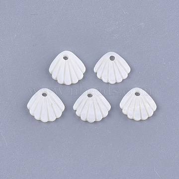 Freshwater Shell Charms, Scallop, Creamy White, 10x11x1.5mm, Hole: 1.5mm(X-SHEL-T012-62)