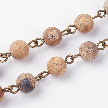 Natural Picture Jasper Handmade Beaded Chains, Unwelded, with Iron Eye Pin, Antique Bronze, 39.37 inches; 1m/strand(AJEW-JB00361-02)