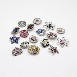 Alliage mixte boutons bijoux en strass snap, argent antique, 19~29x20~29x6~13 mm; bouton: 5~5.5 mm(SNAP-N018-01)
