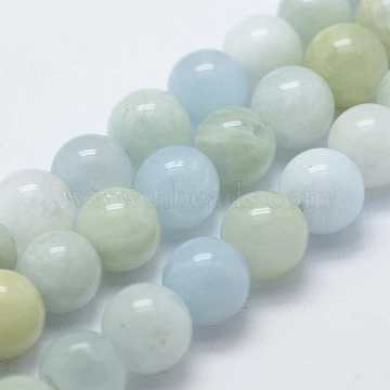 Natural Aquamarine Beads Strands, Round, 8mm, Hole: 1mm, about 52pcs/strand, 15.7 inches(X-G-K240-04)