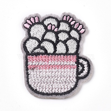 Computerized Embroidery Cloth Iron on/Sew on Patches, Costume Accessories, Appliques, for Backpacks, Clothes, Cactus, Pink, 41x33x1.5mm(DIY-G015-08)