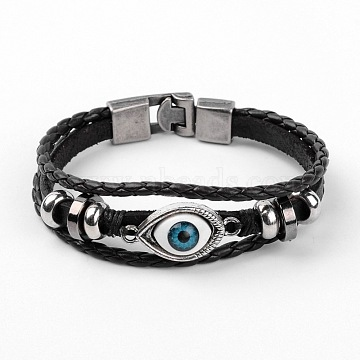 Multi- Strand Leather Cord Bracelets, with Alloy Findings, Evil Eye, Black, 220mm(8-5/8inches)(X-BJEW-D423-06A)