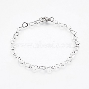 304 Stainless Steel Chain Bracelets, with Lobster Claw Clasps, Heart, Stainless Steel Color, 8-1/8 inches(20.5cm)(BJEW-P236-07P)