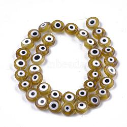 ручной сглаза бусины бисер нитей, плоские круглые, darkkhaki, 9.5~10.5x3.5~4 mm, отверстия: 1.2 mm; о 38 шт / прядь, 14.1(LAMP-S191-02C-07)