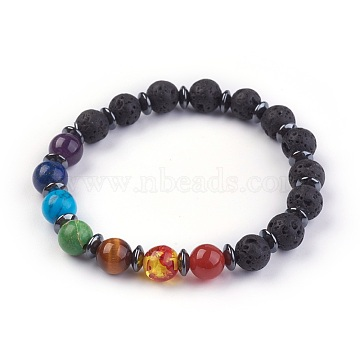 Natural/Synthetic Mixed Stone Stretch Bracelets, with Lava Rock and Non-Magnetic Synthetic Hematite Beads, 2-1/8 inches(5.5cm)(X-BJEW-JB03945-01)