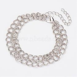 """Bracelets en fer à double link chain, avec alliage de zinc homard fermoirs pince, platine, 7-1/2"""" (190 mm)(BJEW-JB02926)"""
