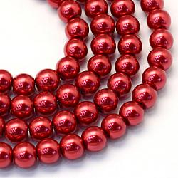 """Chapelets de perle en verre peint de cuisson, nacré, rond, firebrick, 3~4mm, trou: 0.5mm; environ 195 pcs/chapelet, 23.6""""(X-HY-Q003-3mm-51)"""