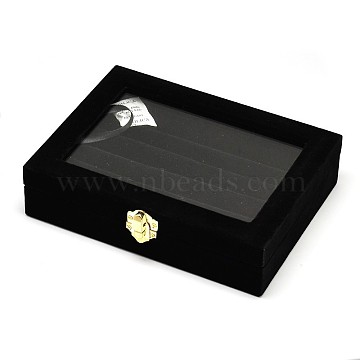 Wooden Rectangle Ring Boxes, Covered with Velvet, with Glass and Iron Clasps, Black, 20.2x15.1x4.9cm(OBOX-L001-06A)